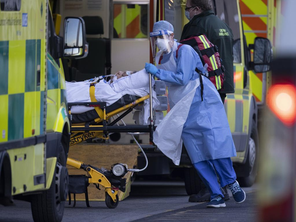 A January spike in cases saw hospitals come close to being overwhelmed as oxygen supplies ran low and ambulances queued outside for hours. Picture: Dan Kitwood/Getty Images