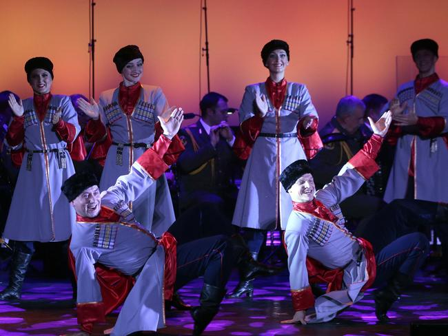 Dancers and the official army choir of the Russian armed forces, known as the Alexandrov Ensemble, performing at the Palais des Sports in Paris in October. Picture: AFP / Jacques Demarthon