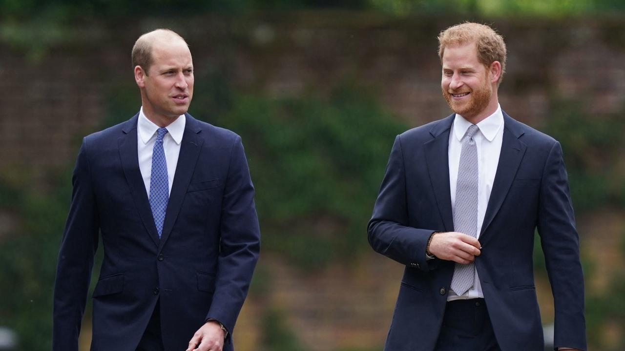 The princes arrive for the unveiling of a statue of their mother at The Sunken Garden in Kensington Palace, London. Picture: Yui Mok / POOL / AFP.