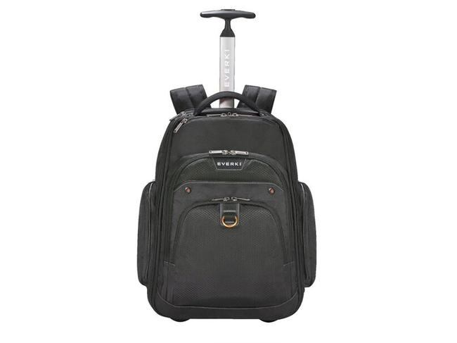 ATLAS WHEELED TROLLEY BACKPACK — EVERKI ($329) This backpack/trolley bag hybrid is perfect for intrepid travellers who want some flexibility. Digital nomads will love its laptop pocket that features padded panels to keep your device snug. It also boasts secure pockets with RFID blocking technology, as well as compartments for your passport, headphones, travel documents and water bottle.