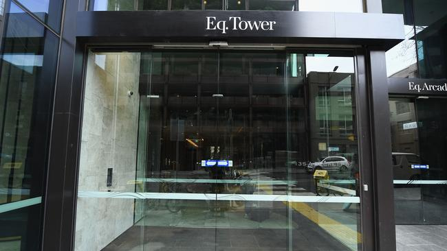 The entrance of EQ Tower on A'Beckett Street is seen on July 23, 2018 in Melbourne, Australia. Picture: Quinn Rooney/Getty Images.