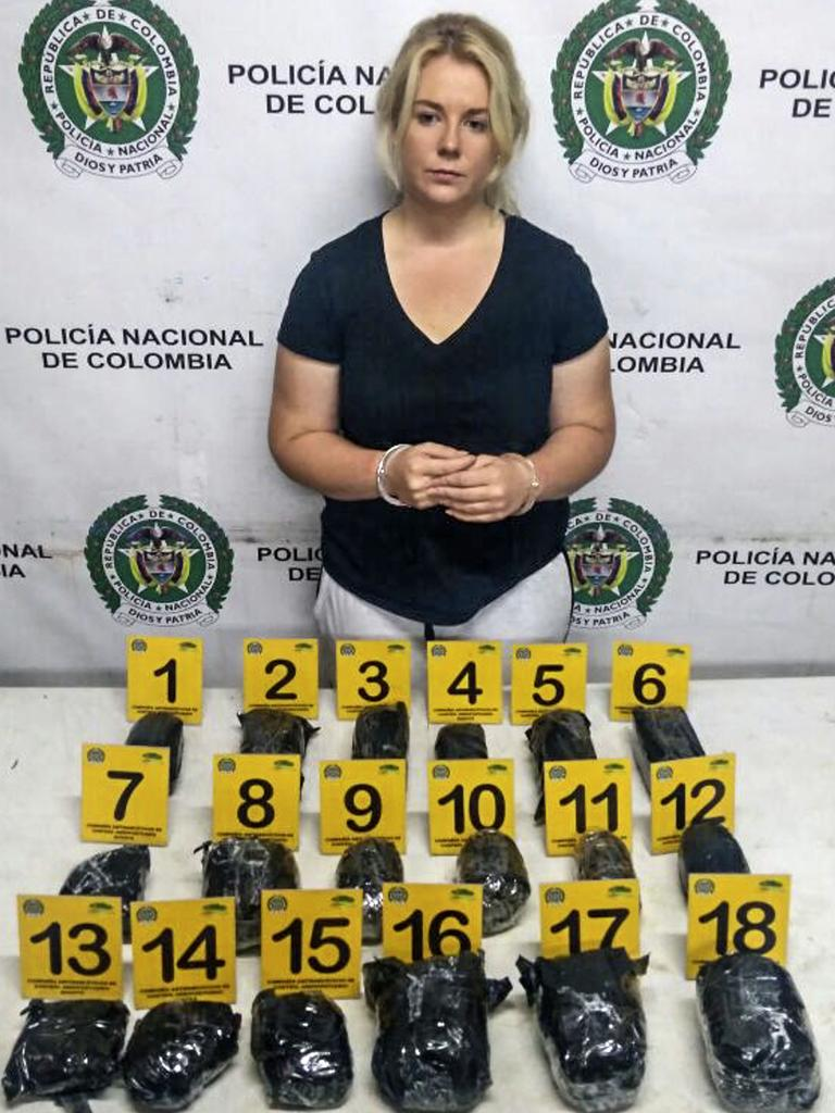 After being arrested on May 1, 2017, when 5.8 kilograms of cocaine was found in her suitcase. Picture: AFP Photo/Colombia's Antinarcotics Police