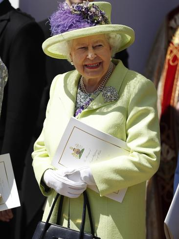 The Queen, looking more upbeat outside the chapel. Picture: AP