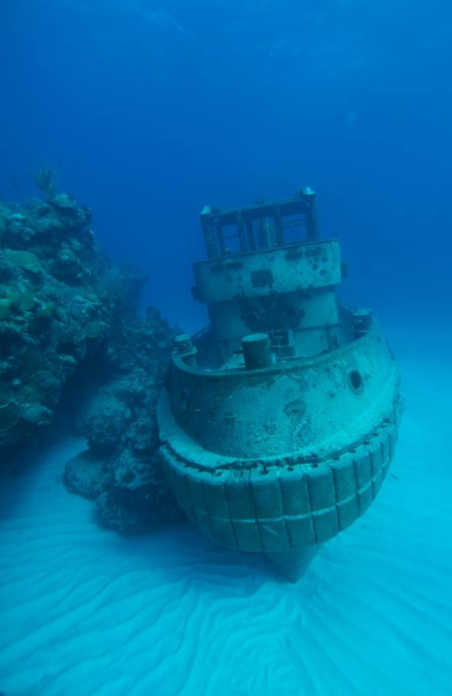 A tug boat sits perfectly preserved on the sea bed. Picture: Dive Bermuda.