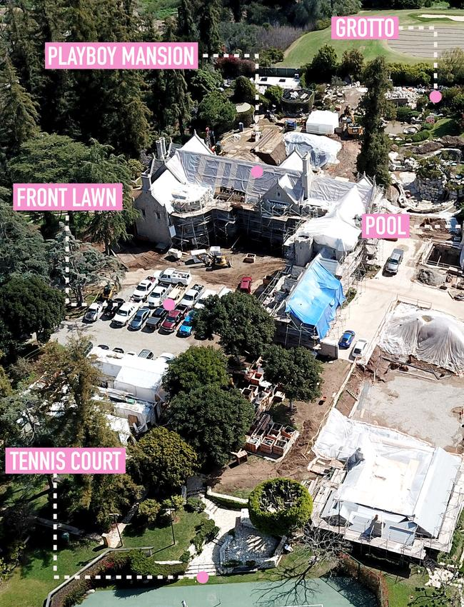Aerial photos reveal an extensive construction project is underway at the Playboy Mansion in Los Angeles, California. Picture: SplashNews.com