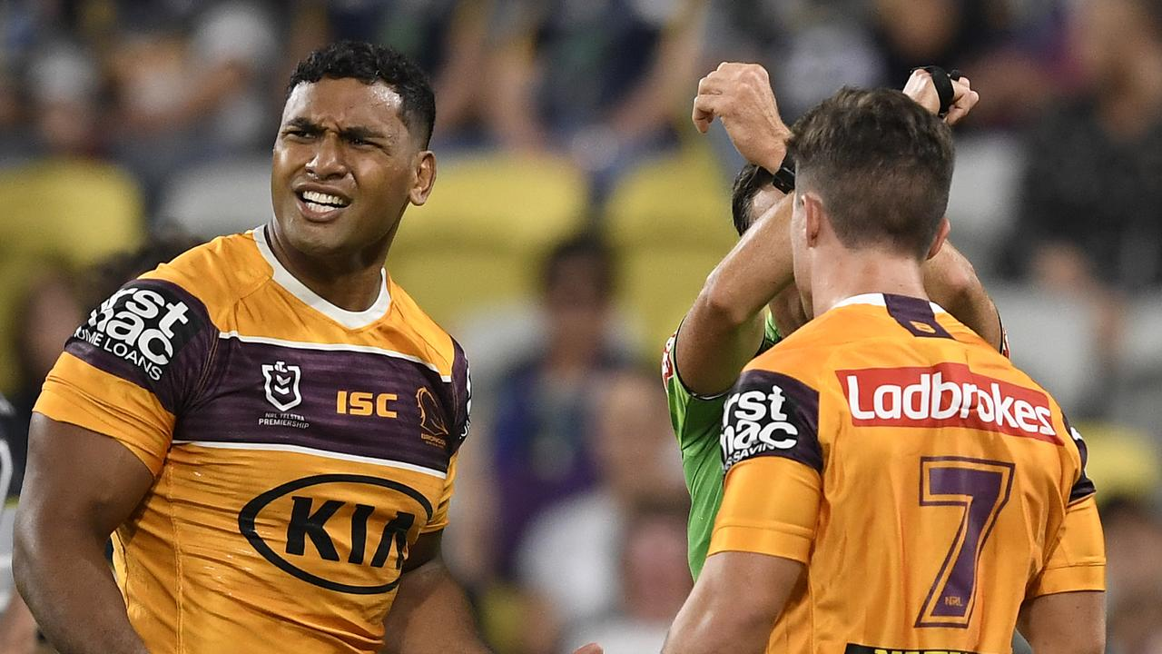 Tevita Pangai Jr was suspended for four games for a high tackle on Justin O'Neill.