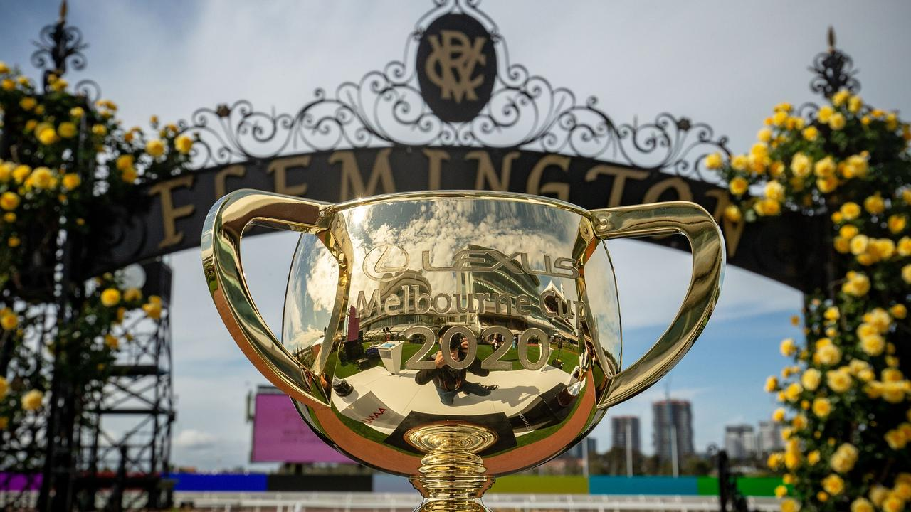 MELBOURNE, AUSTRALIA - OCTOBER 27: The Melbourne Cup trophy is seen during the Melbourne Cup Carnival launch at Flemington Racecourse on October 27, 2020 in Melbourne, Australia. (Photo by Darrian Traynor/Getty Images)