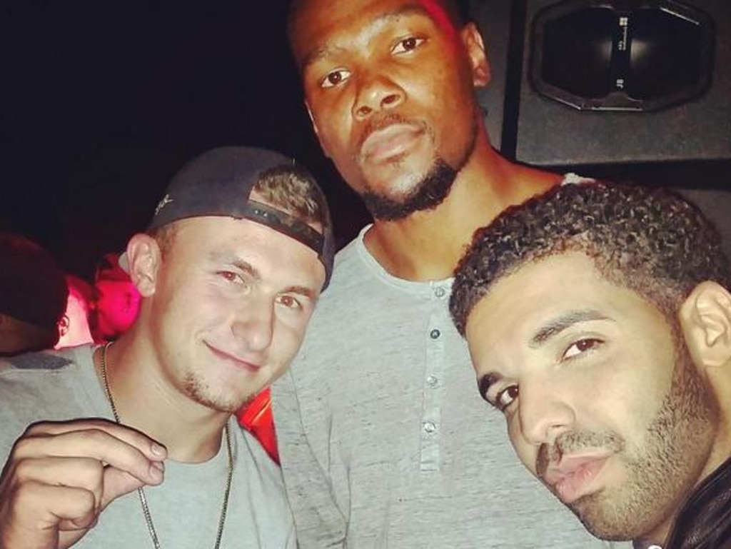 Manziel with Kevin Durant and Drake.
