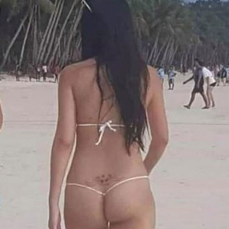 From the back, the woman appeared almost naked. Picture: Facebook/Philip Pine Tastic