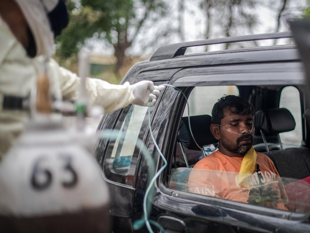 India struggled with oxygen supplies for people suffering from COVID-19. Picture: Getty Images/Getty Images