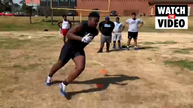 Justus Terry shows off moves in training