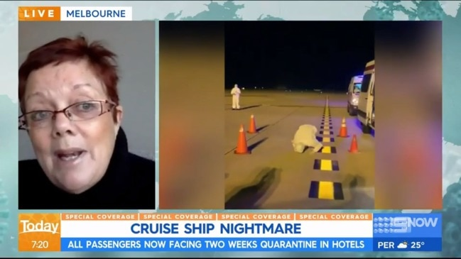 Karl Stefanovic and Ally Langdon speak to returned cruise passenger (The Today Show)