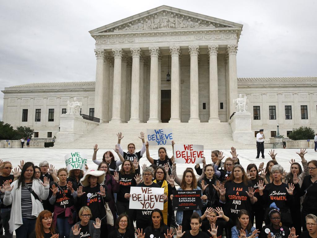 Protesters gather in front of the Supreme Court on Capitol Hill in Washington. Picture: AP