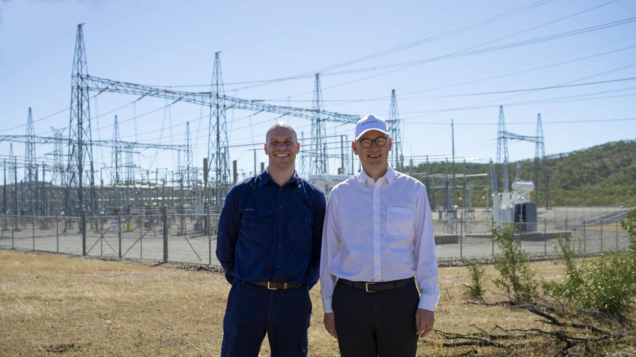 RENEWABLE POWER: Lacour Energy Director James Townsend (left) and Goldwind Managing Director John Titchen at the Clarke Creek Wind Farm.