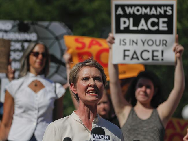 New York State governor candidate Cynthia Nixon at a pro-choice rally this month, amid fears a conservative new Supreme Justice could tilt the court in favour of overturning Roe v Wade. Picture: AP Photo/Julie Jacobson