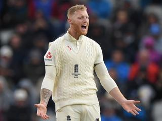 MANCHESTER, ENGLAND - SEPTEMBER 04: England bowler Ben Stokes reacts as Australia batsman Marnus Labuschagne picks up runs during day one of the 4th Ashes Test match between England and Australia at Old Trafford on September 04, 2019 in Manchester, England. (Photo by Stu Forster/Getty Images)