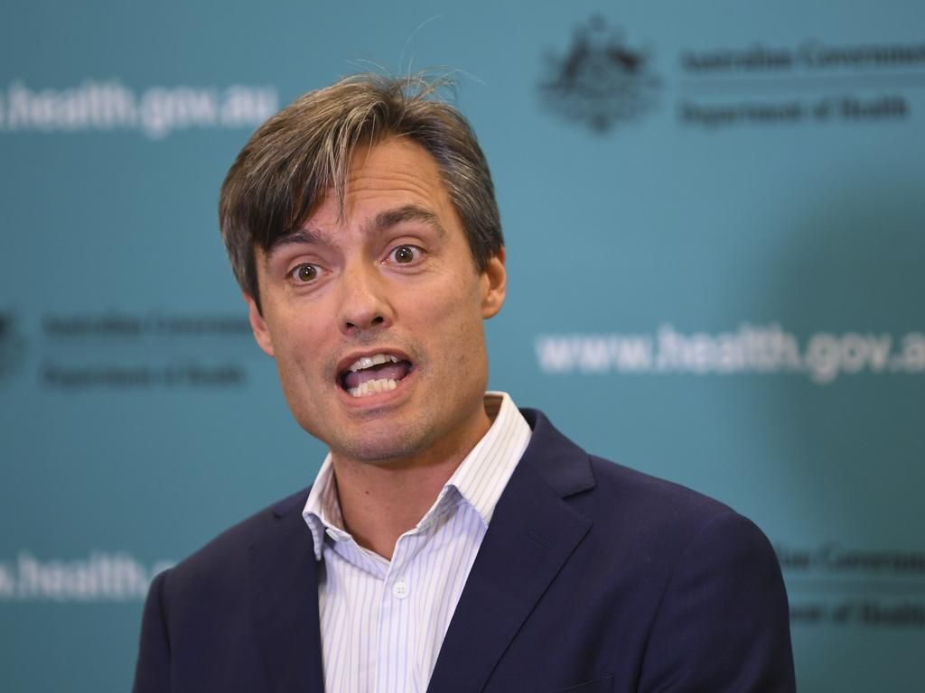 Deputy chief medical officer Dr Nick Coatsworth has warned Australians not to become complacent when it came to avoiding close personal contact. Picture: AAP Image/Lukas Coch.