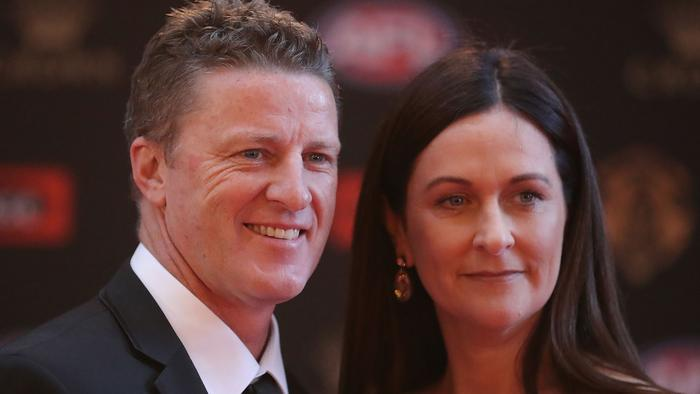 MELBOURNE, AUSTRALIA - SEPTEMBER 25:  Damien Hardwick, coach of the Tigers and his wife Danielle Hardwick arrive ahead of the 2017 Brownlow Medal at Crown Entertainment Complex on September 25, 2017 in Melbourne, Australia.  (Photo by Scott Barbour/Getty Images)