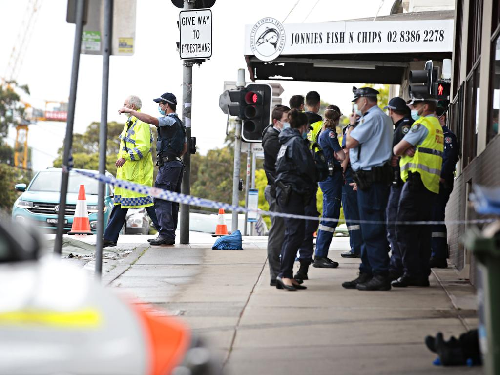 Police on the scene of the fatal pedestrian crash at the corner of Marion and Flood streets in Leichhardt. Picture: NCA NewsWire / Adam Yip