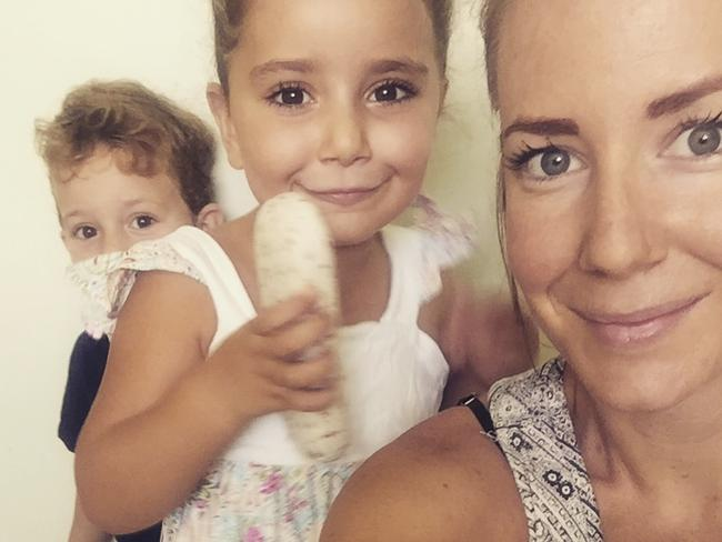 Sally Faulkner, far right, with her children Noah and Nahela. Picture: Supplied
