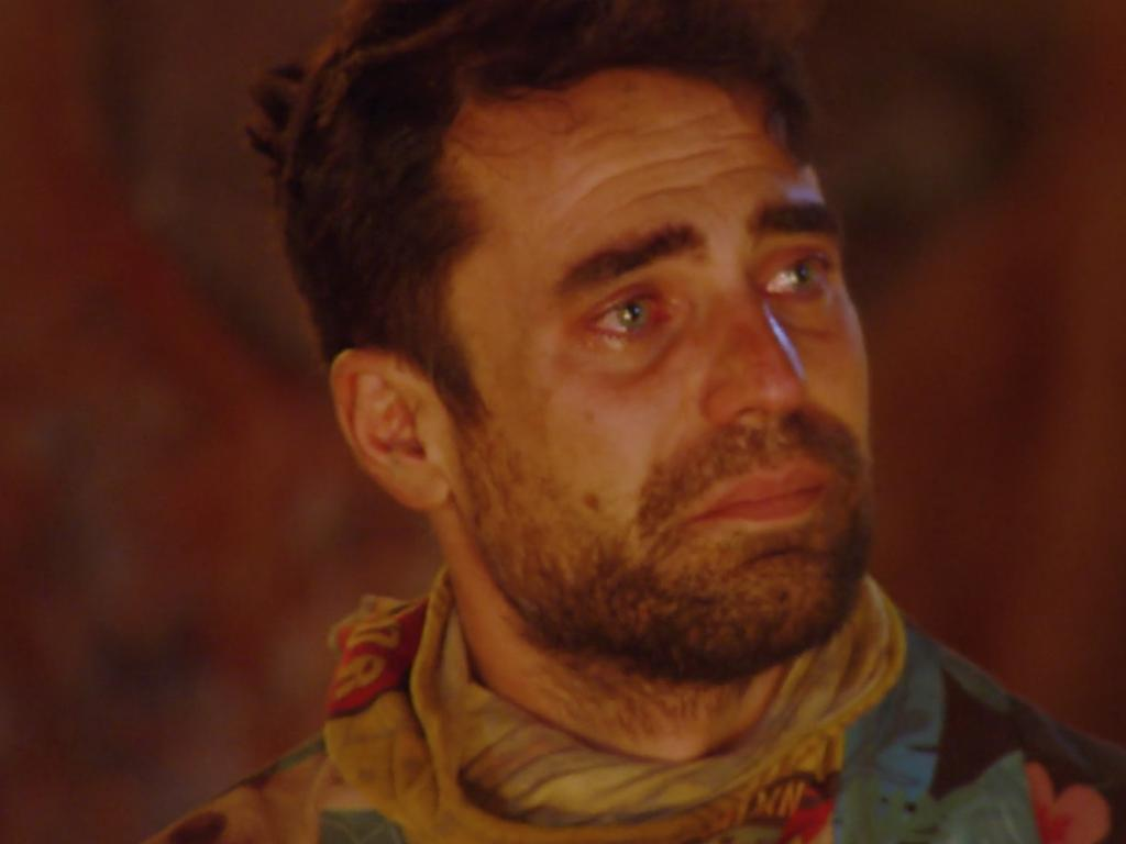 George said he could not hold back the emotion after Cara's sacrifice. Picture: Ten