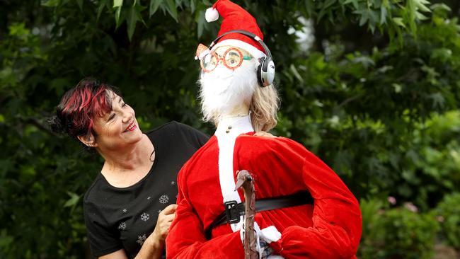 Valerie Thorpe at her Kangarilla home with her music-loving, emu-riding Santa. Picture: Calum Robertson