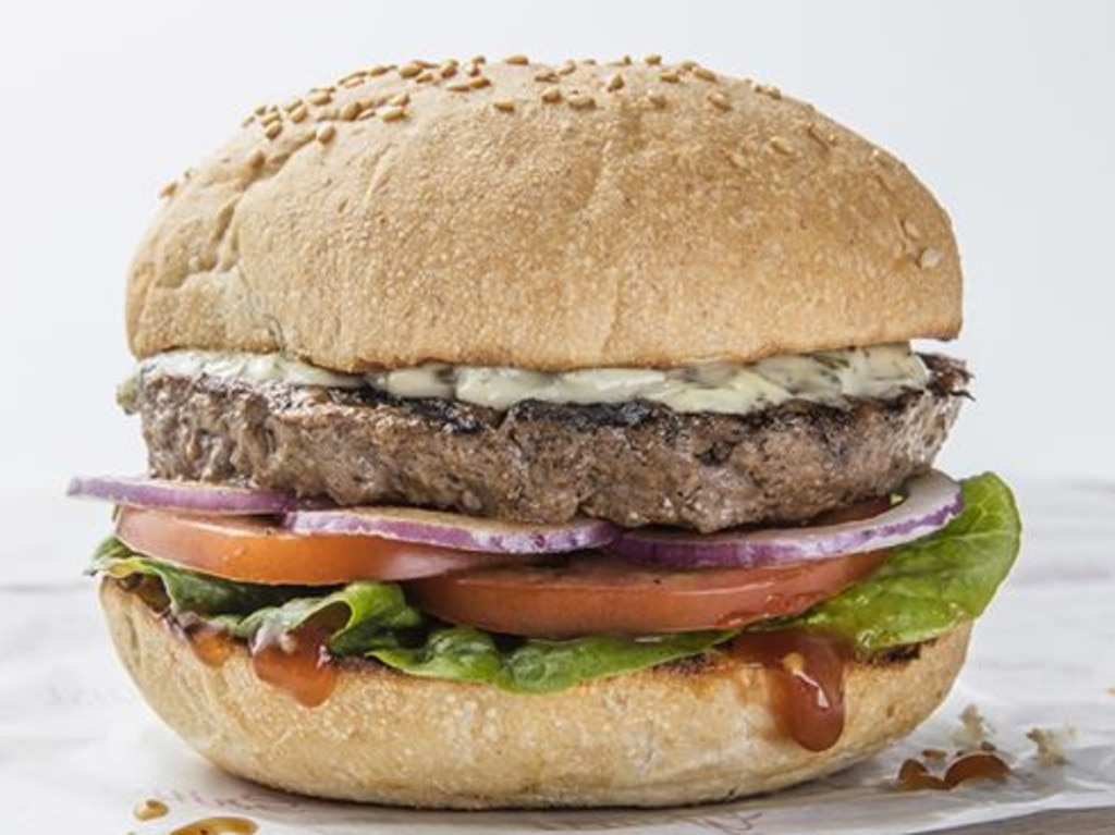 The huge bun really ruined this burger for me. Picture: Grill'd