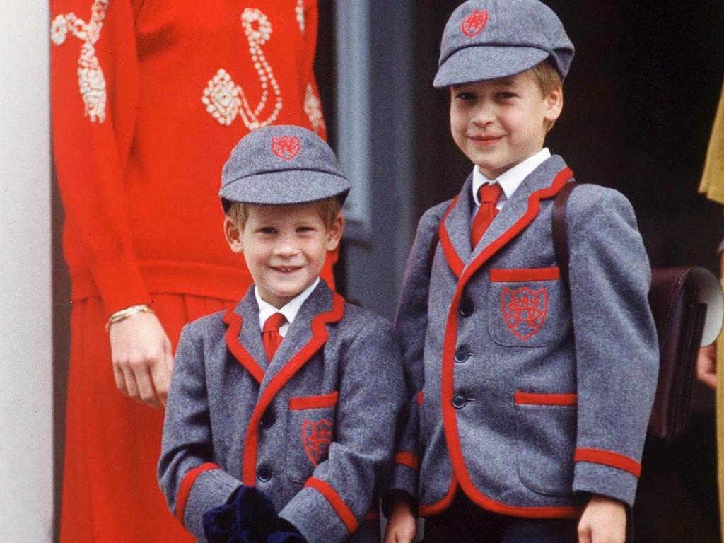 Baron Kilkeel Earl and Baron Carrickfergus aka Prince Harry and Prince William on Harry's first day of school. Picture: Tim Graham/Getty Images