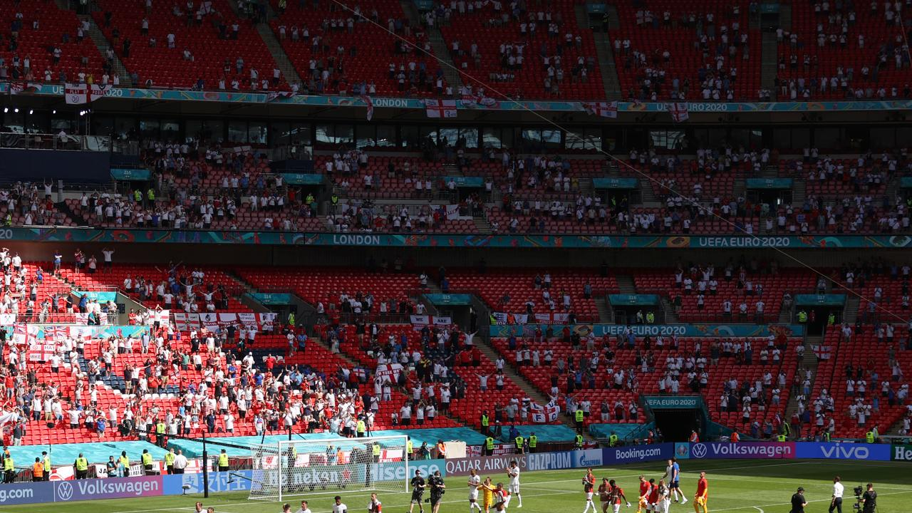 Euros shock with fan in 'serious condition' after falling from stands