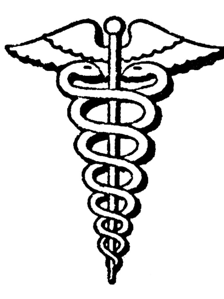 Serpent and staff symbol of Greek doctor Asclepius medical profession logo. medicine