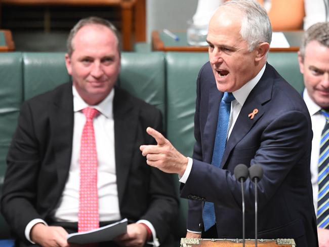 Prime Minister Malcolm Turnbull during Question Time in the House of Representatives. Picture: AAP