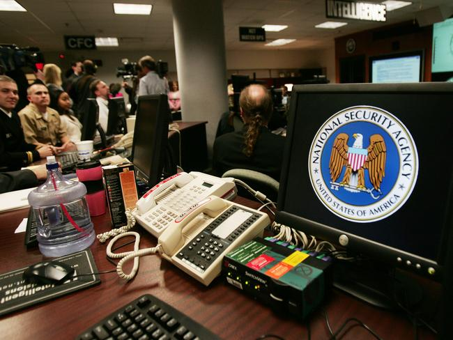 This 10 year old photo shows a computer workstation bearing the National Security Agency (NSA) logo inside the Threat Operations Center at Fort Meade, Maryland. Picture: Paul j. Richards
