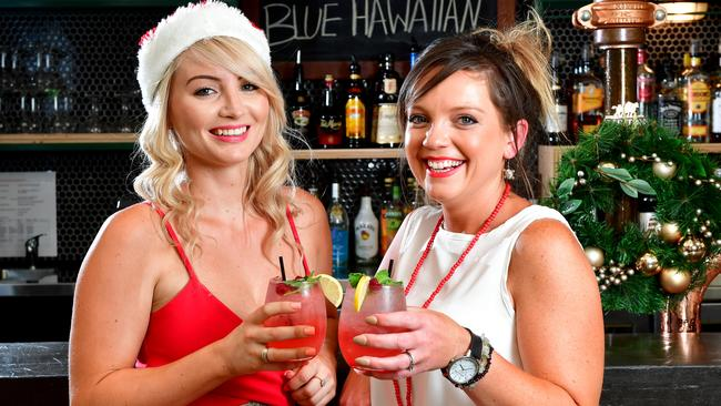 Ayla Callegari and Rachael Rose enjoy a Christmas cocktail at The Gully Public House & Garden. Picture: MARK BRAKE