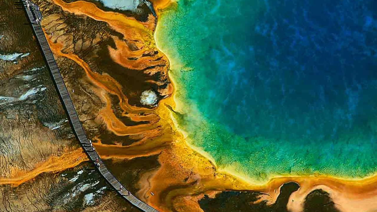 While the grand prismatic spring at Yellowstone National Park in the US was not the scene of the scientific study, this colour spectrum is caused by the presence of cyanobacteria, the type of bacteria that is the focus of the new oxygenation theory. Cyanobacteria also grow faster in the hot water at the centre of this basin at Yellowstone than at the periphery where the temperature is lower. Picture: file imagery.