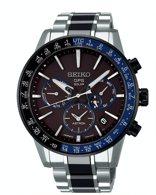 ASTRON 5X WATCH, FROM $3500 FROM SEIKO Globetrotters will be impressed by this high-tech GPS Solar watch that has a raft of features like automatic time zone adjustment, world time function, titanium coating and 10-bar water resistance.