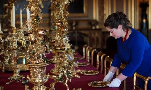 The State Dining Room in Windsor Castle is decorated for the Christmas period. Picture: Jack Taylor/Getty Images. Source: Getty Images