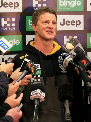 Damien Hardwick faces the media. Picture: Wayne Ludbey