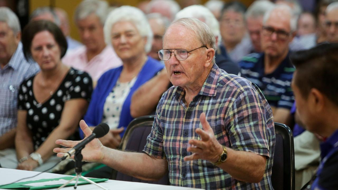 A man speaks against proposed changes to the franking credit refund scheme at Sydney's Chatswood Club as part of the inquiry.