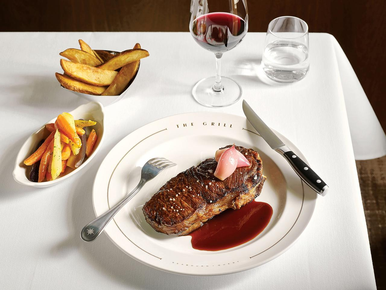 ESCAPE: Celebrity chefs on cruises. Thomas Keller's NY Steak at The Grill on The Seabourn. Picture: Supplied