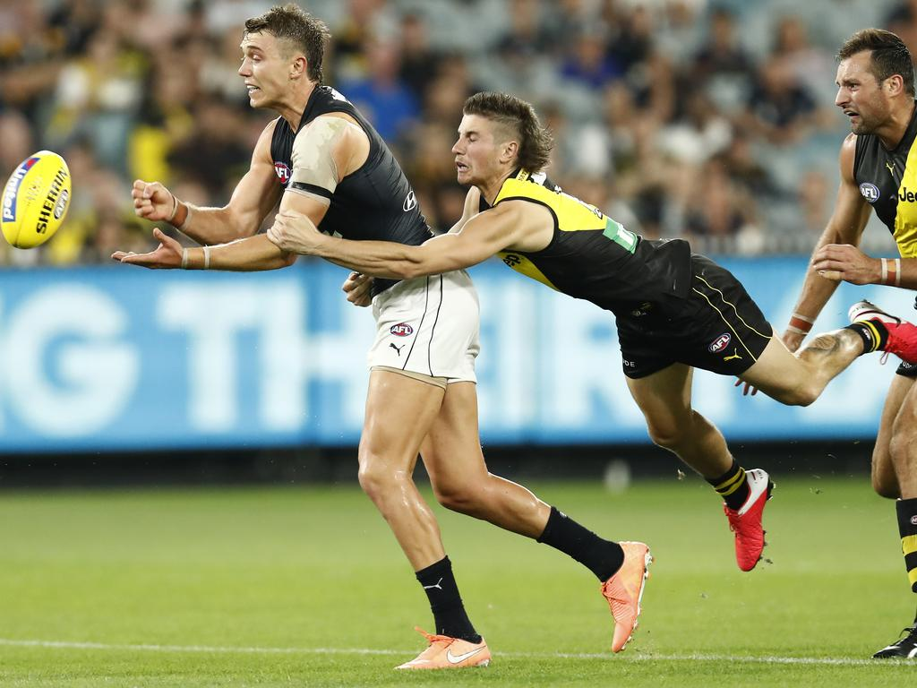 Patrick Cripps used Liam Baker as a speed bump.
