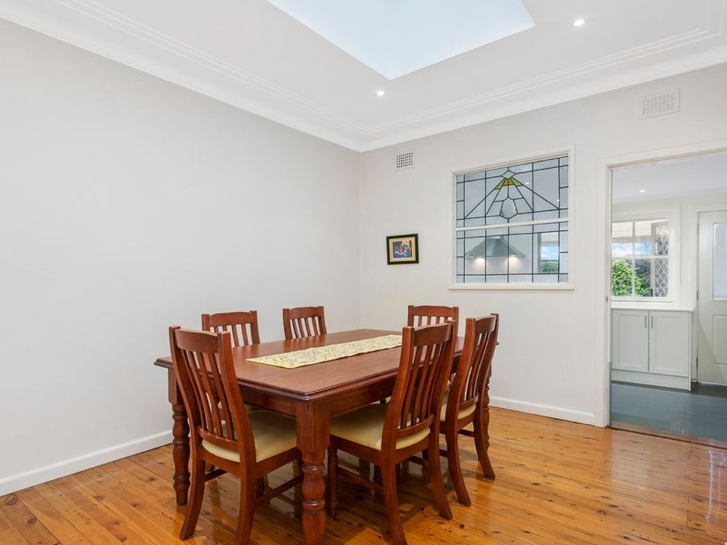 The formal dining room, complete with skylight.
