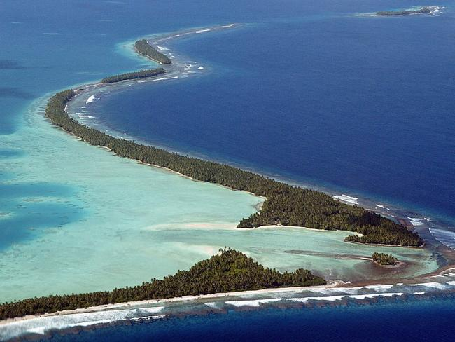 The island nation of Tuvalu is made up of three true islands and six coral atolls. Image: AFP/Torsten Blackwood