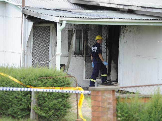 Foresnic officers enter the property in Kalang Avenue, St Marys. Picture: Phillip Rogers