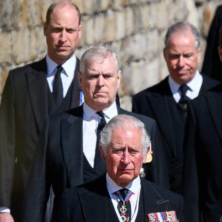 Prince William, Duke of Cambridge, Prince Andrew, Duke of York, Prince Charles, Prince of Wales during the funeral of Prince Philip. Picture: Leon Neal/WPA Pool/Getty Images.