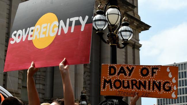 Invasion Day rally on Australia Day. Picture: Nicole Garmston