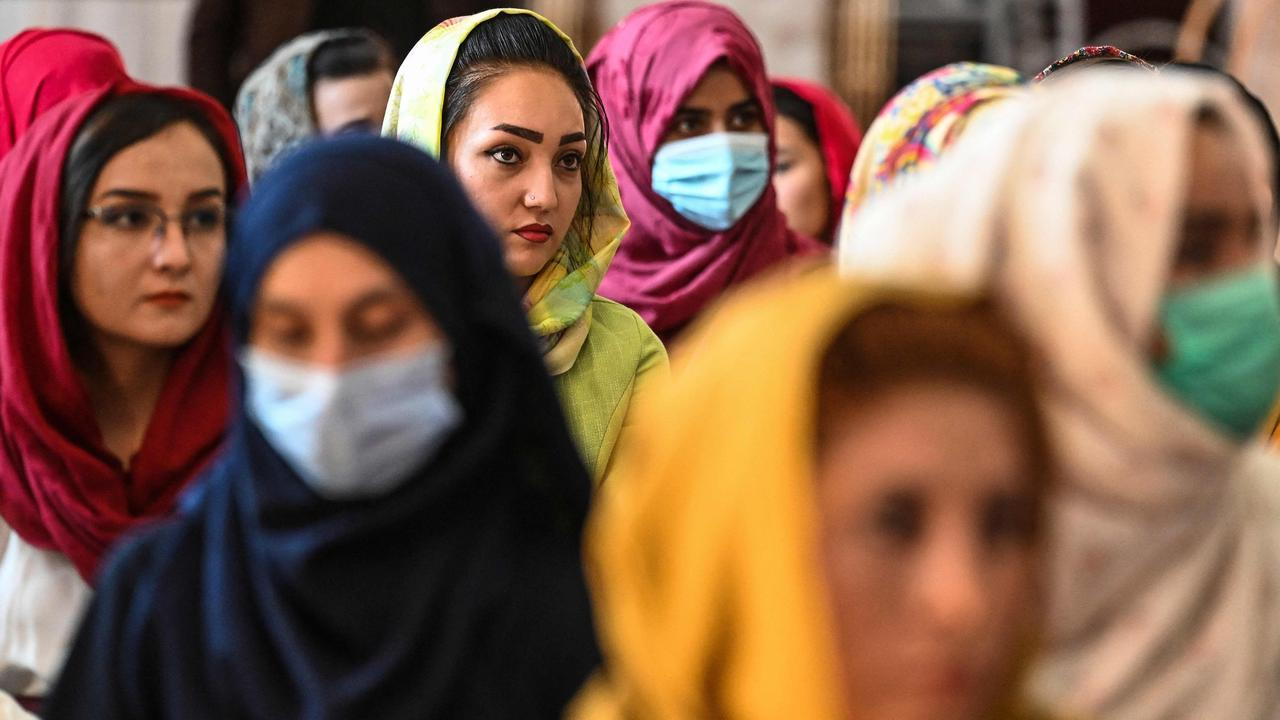 Afghan women take part in a gathering at a hall in Kabul on August 2, 2021 against the claimed human rights violations on women by the Taliban regimen in Afghanistan. Picture: Sajjad Hussain/AFP