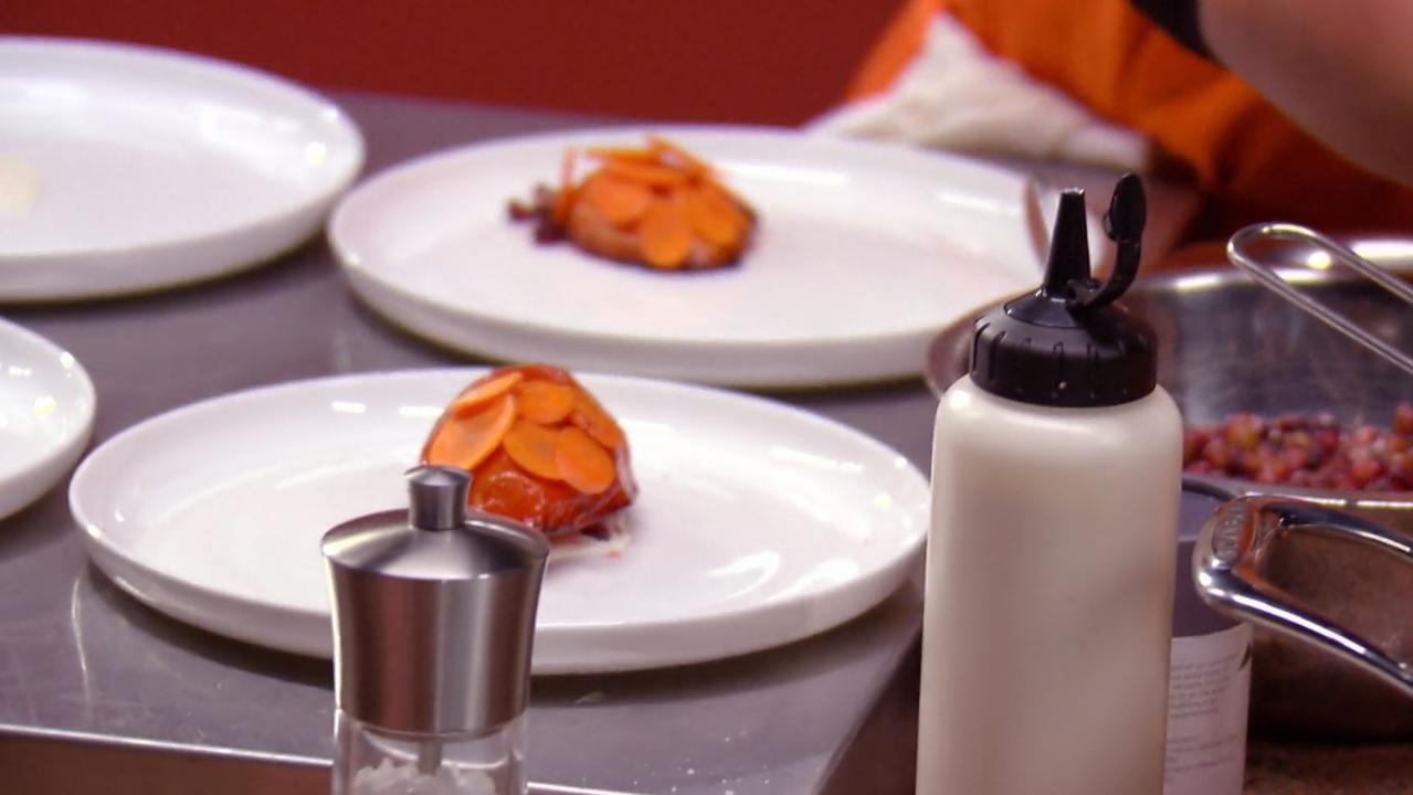 The intricate plating causes concern for Jock. Picture: Channel 10