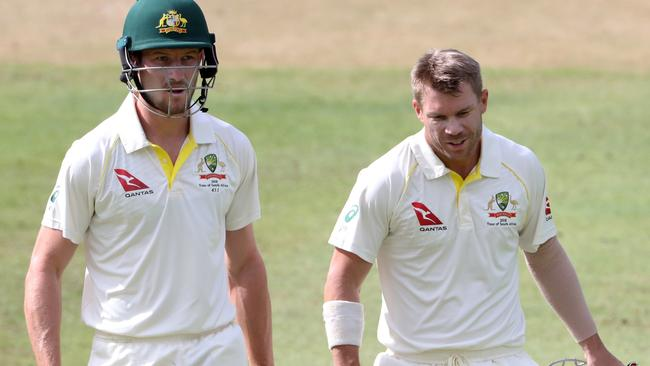 Cameron Bancroft and David Warner look for a hole to swallow them up.
