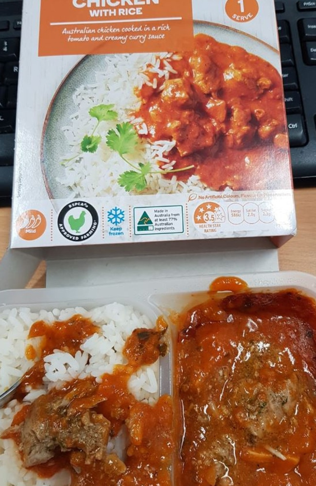 Another Woolies customer also shared her 'disgusting' find in the same meal. . Picture: Facebook