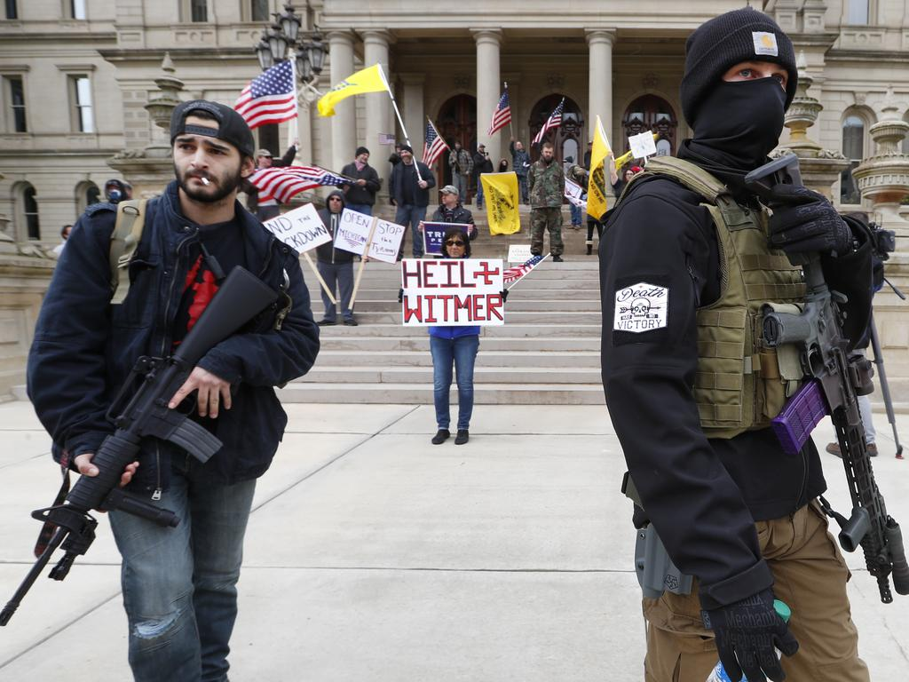 Protesters in Michigan demand the end of lockdown. Picture: AP